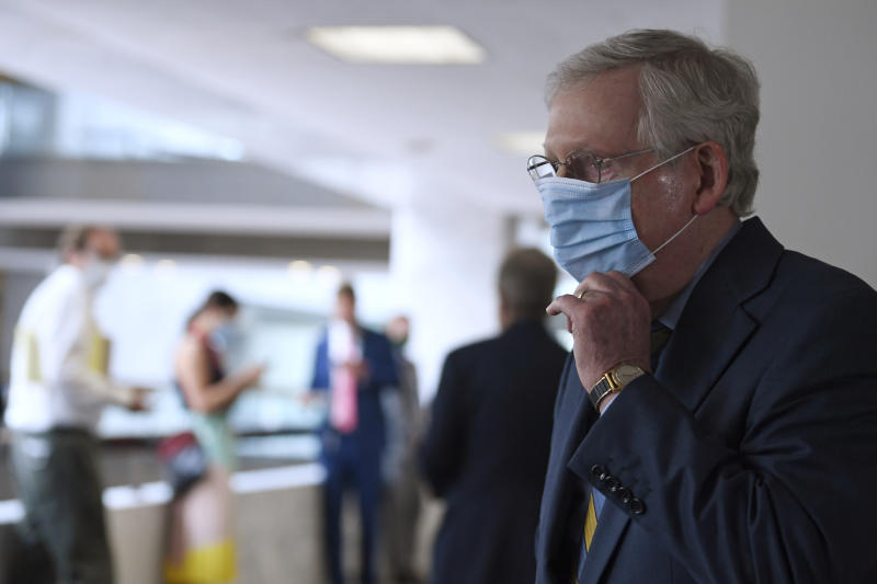 Senate Majority Leader Mitch McConnell of Ky., leaves following the weekly Republican policy luncheon on Capitol Hill in Washington, Tuesday, June 9, 2020. (AP Photo/Susan Walsh)
