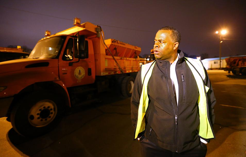 Mayor of Atlanta Kasim Reed checks on progress at the Public Works North Avenue Facility as Atlanta prepares for another approaching winter storm on Monday, Feb. 10, 2014, in Atlanta. (AP Photo/ Atlanta Journal & Constitution, Curtis Compton)