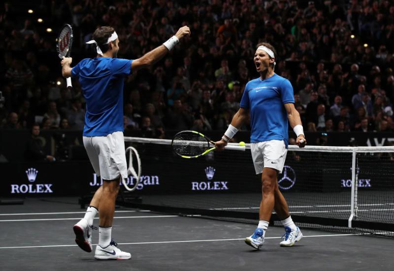 Rafael Nadal and Roger Federer on September 23, 2017 in Prague, Czech Republic. (Getty Images)