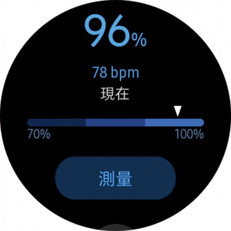 本刊記者實測血氧濃度功能,得到96%的高濃度數值。(圖/手錶截圖畫面)