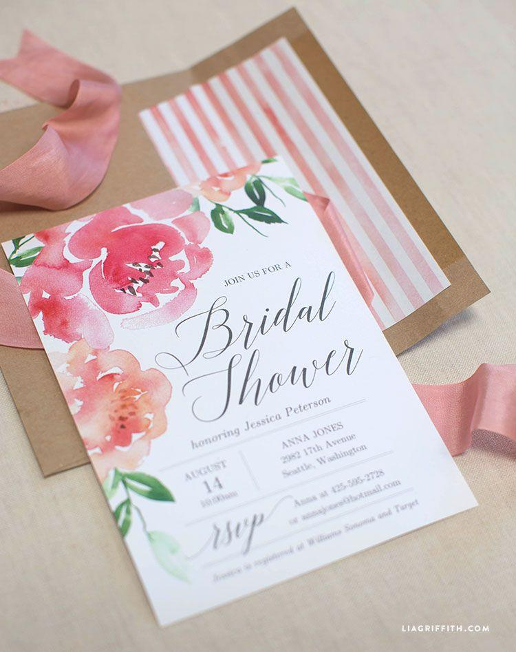"""<p>Any bride will be obsessed with this gorgeously bright invite template alone, but an optional matching envelope liner download also takes this stationery set to the next level. </p><p><strong>Get the printable at <a href=""""https://liagriffith.com/watercolor-peony-bridal-shower-invitation/?crlt.pid=camp.c8uIz7f9FpEL&sscid=51k3_hgnsq"""" target=""""_blank"""">Lia Griffith</a>. </strong></p>"""