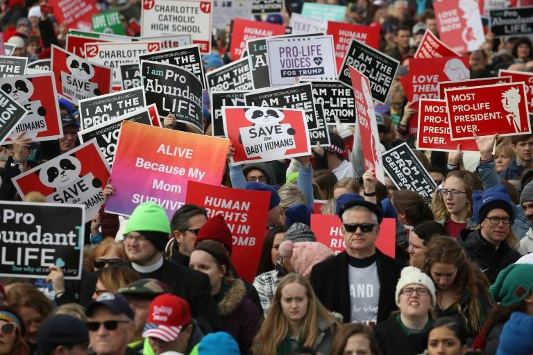 "Participants at the annual anti-abortion ""March for Life"" on the National Mall"