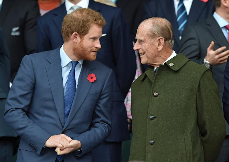 Prince Philip and Prince Harry chat