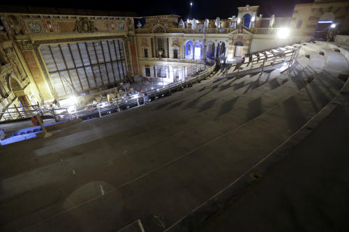 Renovation work is seen from an upper level at the Saenger Theater in Downtown New Orleans on Wednesday, May 22, 2013. (AP Photo/Gerald Herbert)