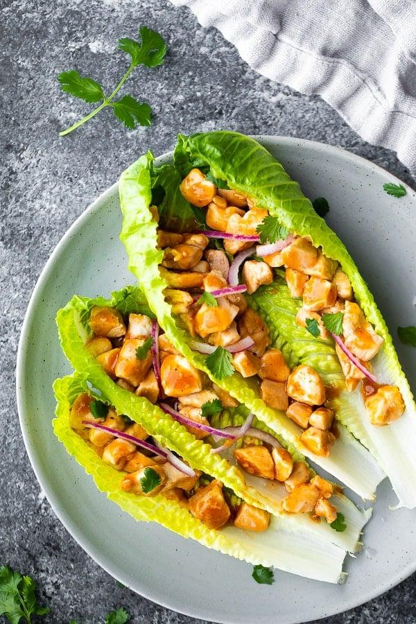 "<p>If you have 15 minutes, you have enough time to prep these low-carb lettuce wraps. The recipe lists ingredients and instructions for one serving, so multiply as needed to get the number of meals you need for the week. Don't forget to store the chicken mixture separate from the romaine leaves until it's time to eat.</p> <p><strong>Get the recipe:</strong> <a href=""https://sweetpeasandsaffron.com/barbecue-chicken-lettuce-wraps/"" target=""_blank"" class=""ga-track"" data-ga-category=""Related"" data-ga-label=""https://sweetpeasandsaffron.com/barbecue-chicken-lettuce-wraps/"" data-ga-action=""In-Line Links"">barbecue chicken lettuce wraps</a></p>"