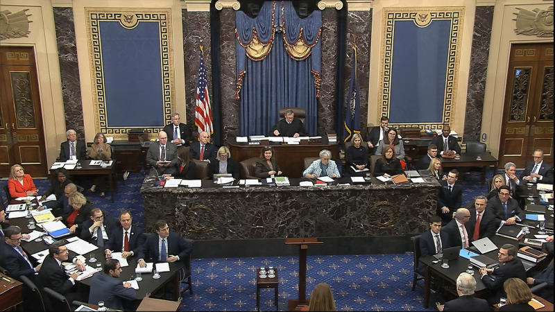 In this image from video, the Senate chamber during the impeachment trial against President Donald Trump in the Senate at the U.S. Capitol in Washington, Tuesday, Jan. 28, 2020. (Senate Television via AP)