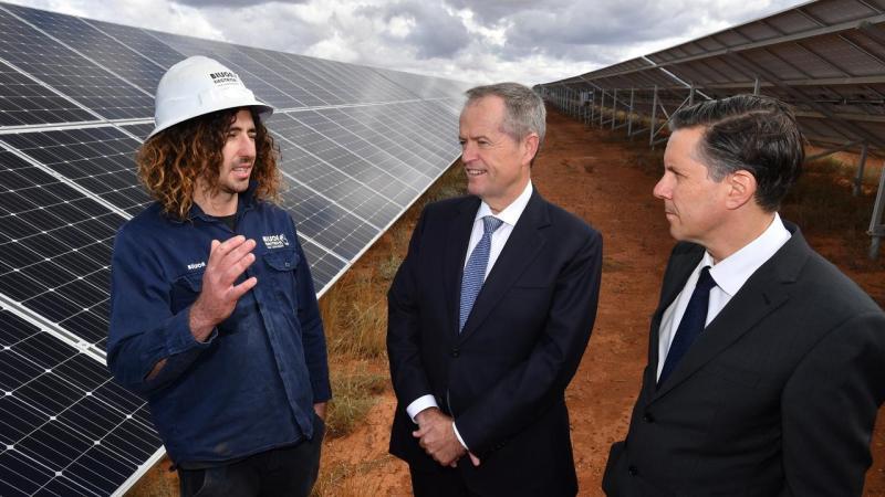 Mr Shorten visited the SSE Solar Farm outside of Adelaide with Labor's energy spokesman Mark Butler
