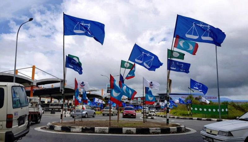 Flags and banners of political parties during the 14th general election in 2018. — Bernama pic