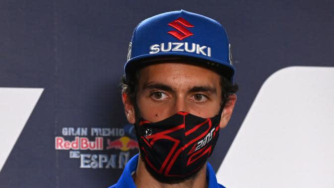 Alex Rins saat mengikuti sesi konferensi pers MotoGP Jerez, Kamis (16/7/2020). (JAVIER SORIANO / AFP)
