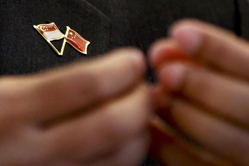 A pin bearing the Singapore and Chinese national flags is worn by Singapore's Foreign Minister Vivian Balakrishnan during a joint press conference with Chinese Foreign Minister Wang Yi at the Ministry of Foreign Affairs in Beijing Monday, June 12, 2017. (AP Photo/Andy Wong)