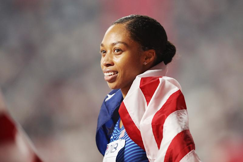 DOHA, QATAR - SEPTEMBER 29: Allyson Felix of the United States reacts after setting a new world record in the 4x400 Metres Mixed Relay during day three of 17th IAAF World Athletics Championships Doha 2019 at Khalifa International Stadium on September 29, 2019 in Doha, Qatar. (Photo by Patrick Smith/Getty Images)