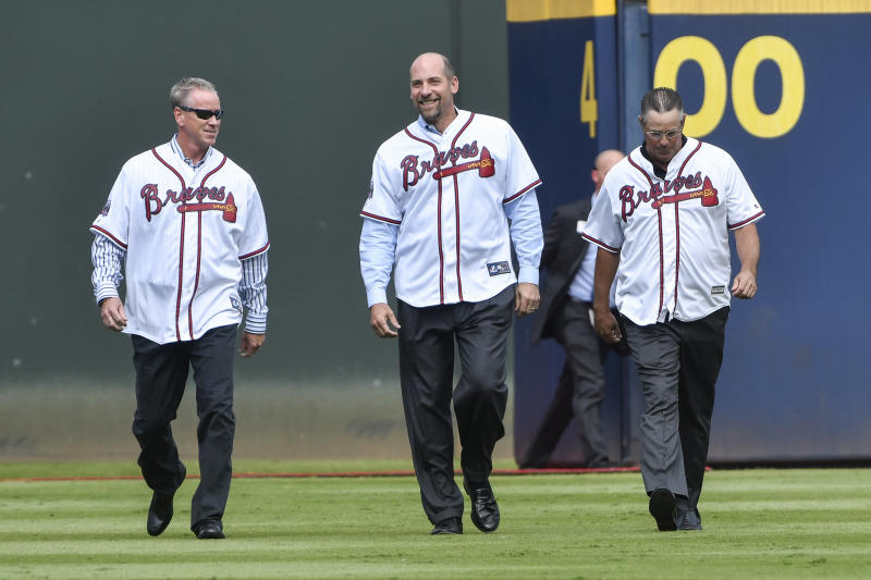 John Smoltz says Astros Justin Verlander, Gerrit Cole and Zack Greinke is better than Braves Hall of Fame trio with Greg Maddux and Tom Glavine. (AP Photo/John Amis)