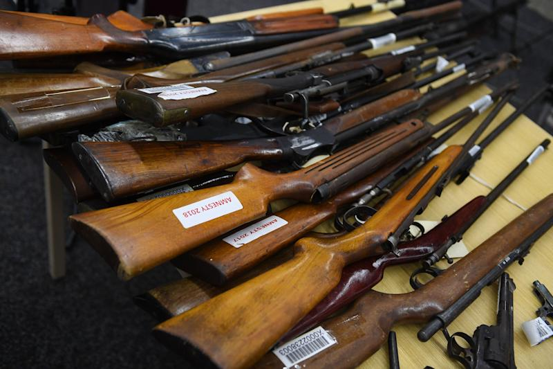 A selection of firearms in Sydney from NSW Gun Amnesty in 2018. Source: AAP