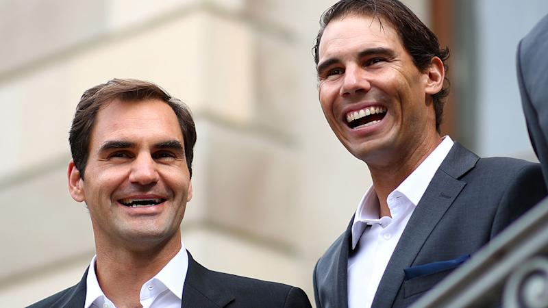 Roger Federer and Rafael Nadal,. pictured here ahead of the Laver Cup.