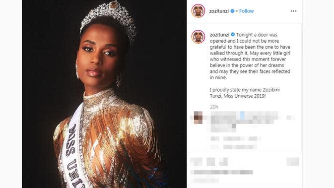 Unggahan pertama Zozibini Tunzi sejak dinobatkan sebagai Miss Universe 2019. (dok. Instagram @zozitunzi/https://www.instagram.com/p/B512-ToD3qK/?hl=en/Putu Elmira)