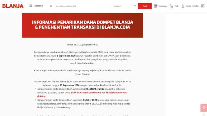 E-Commerce Blanja.com Tutup, Telkom Sudah Siapkan Pengganti