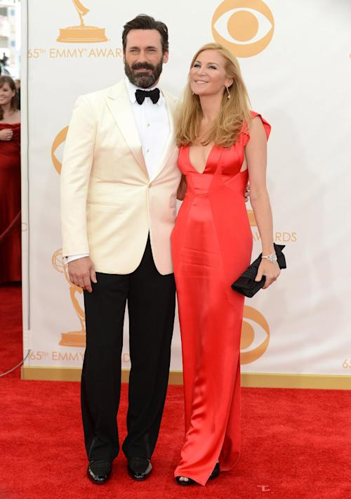 Jon Hamm, left, and Jennifer Westfeldt arrive at the 65th Primetime Emmy Awards at Nokia Theatre on Sunday Sept. 22, 2013, in Los Angeles. (Photo by Jordan Strauss/Invision/AP)