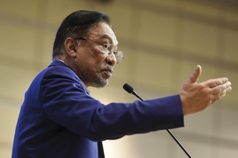 PKR President Datuk Seri Anwar Ibrahim speaks at the Youth Economic Forum 2019 in Kuala Lumpur November 9, 2019. — Picture by Miera Zulyana