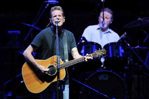 Musicians Glenn Frey, left, and Don Henley of the Eagles perform at Madison Square Garden on Friday, Nov. 8, 2013 in New York. (Photo by Evan Agostini/Invision/AP)