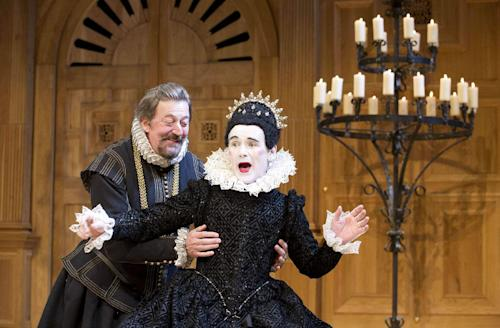 "This undated theater image released by Boneau/Bryan-Brown shows Mark Rylance as Olivia, right, and Stephen Fry as Malvolio during a performance of William Shakespeare's ""Twelfth Night."" (AP Photo/Boneau/Bryan-Brown, Geraint Lewis)"