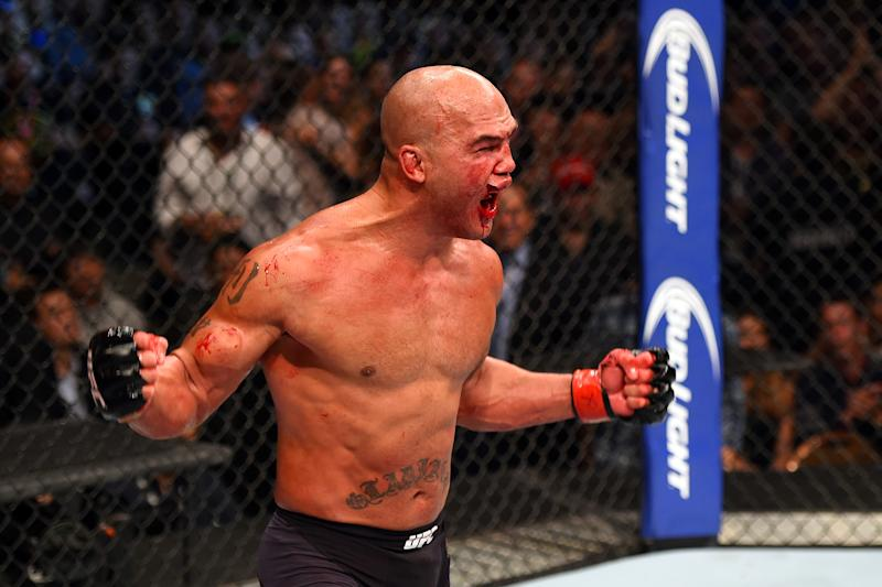 LAS VEGAS, NV - JULY 11: Robbie Lawler reacts to his victory over Rory MacDonald in their UFC welterweight title fight during the UFC 189 event inside MGM Grand Garden Arena on July 11, 2015 in Las Vegas, Nevada. (Photo by Josh Hedges/Zuffa LLC/Zuffa LLC via Getty Images)