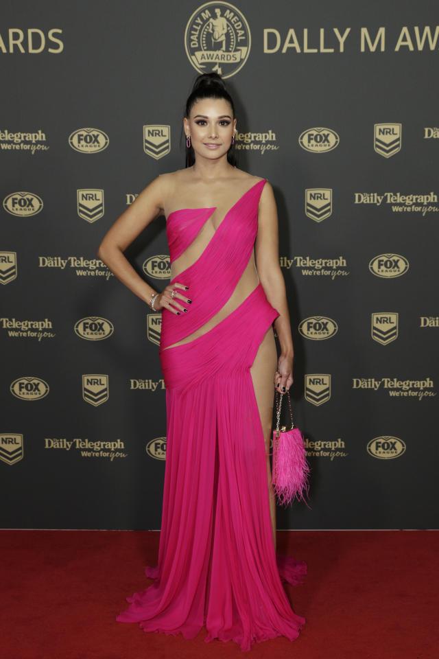 Monisha Lew-Fatt kombinierte ihr auffälliges Kleid mit Schmuck von APM Monaco und High Heels von Tony Bianco. Foto: Getty Images.