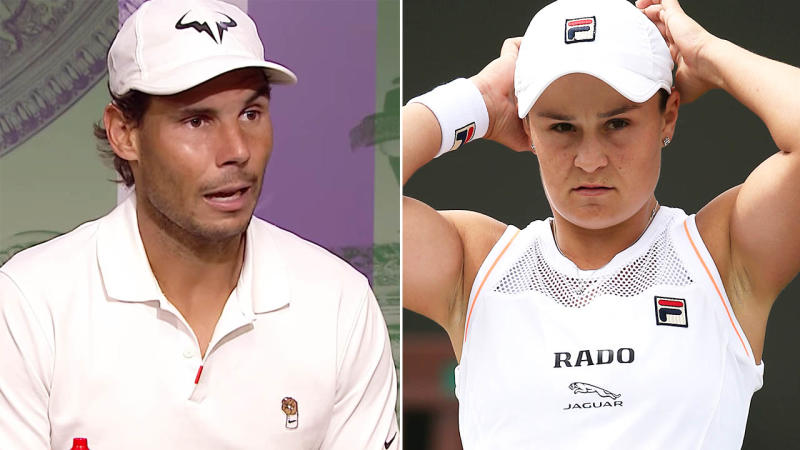 Rafael Nadal took a cheeky shot at Ash Barty over Wimbledon scheduling. Image: Wimbledon/Getty