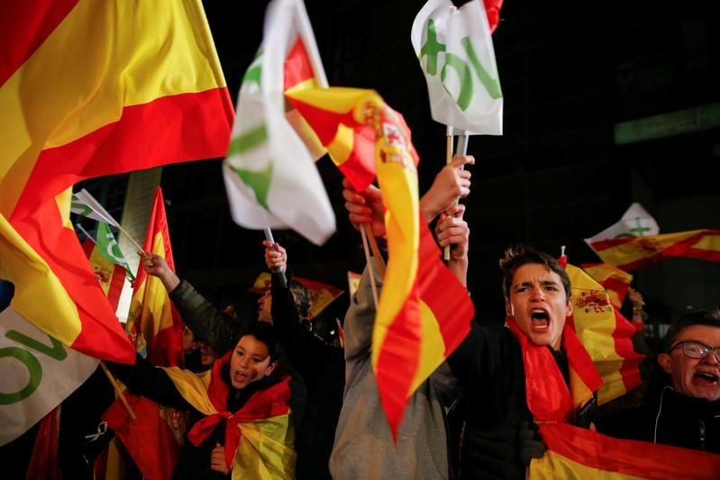 Supporters of Spain's far-right party VOX react during Spain's general election, outside the party headquarters in Madrid