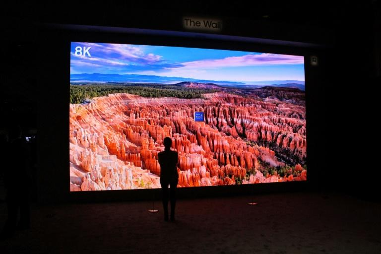 A super-high-definitition, wall-sized Samsung television screen is unveiled during CES in Las Vegas on January 5