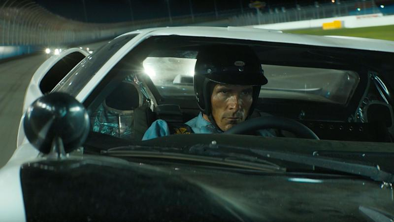 Christian Bale gets behind the wheel as Ken Miles in 'Le Mans 66'. (Credit: Fox)