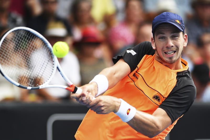 Cameron Norries of Britain plays a shot to Jan-Lennard Struff of Germany during the semifinal of the ASB Classic Mens tennis tournament in Auckland, New Zealand, Friday, Jan 11, 2019. (AP Photo/Chris Symes)