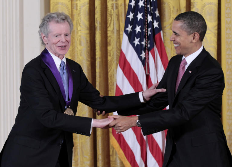 President Barack Obama presents a 2010 National Medal of Arts to pianist Van Cliburn, Wednesday, March 2, 2011, during a ceremony in the East Room of the White House in Washington. (AP Photo/Pablo Martinez Monsivais)