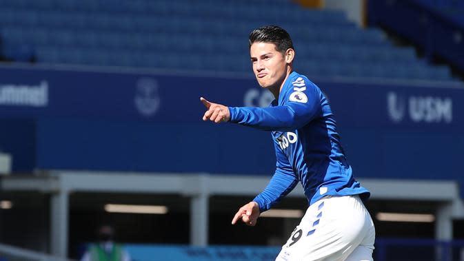 3. James Rodriguez (Everton) - Pemain asal Kolombia ini digaet Everton secara gratis dari Real Madrid. James Rodriguez dikontrak dengan durasi hingga tahun 2022 mendatang. (AFP/Nick Potts/pool)