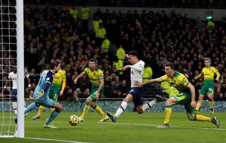 Dele Alli (centre) scored Tottenham's first league goal of 2020