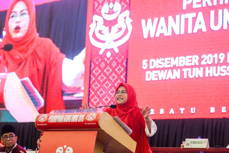 Wanita Umno chief Datuk Noraini Ahmad speaks during the 2019 Umno General Assembly at Putra World Trade Centre in Kuala Lumpur December 5, 2019. — Picture by Firdaus Latif