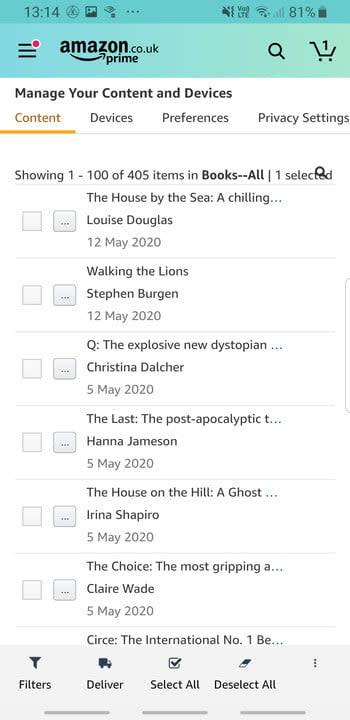 Screenshot of Kindle books list