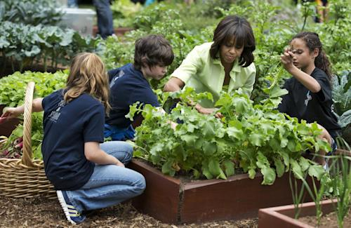 "FILE - In this May 28, 2013 file photo, First lady Michelle Obama joins school children from Long Beach Island Grade School in Ship Bottom, N.J., from left, and second from left: Jordan Leeds, age 11, Joshua Styler-Tracy, age 11, and Madisyn Goias, age 10, to harvest the summer crop from the White House kitchen garden, at the White House in Washington. Nearing a milestone birthday, Michelle Obama describes herself as ""50 and fabulous."" She's celebrating already and a big birthday bash is in the works. (AP Photo/Manuel Balce Ceneta)"