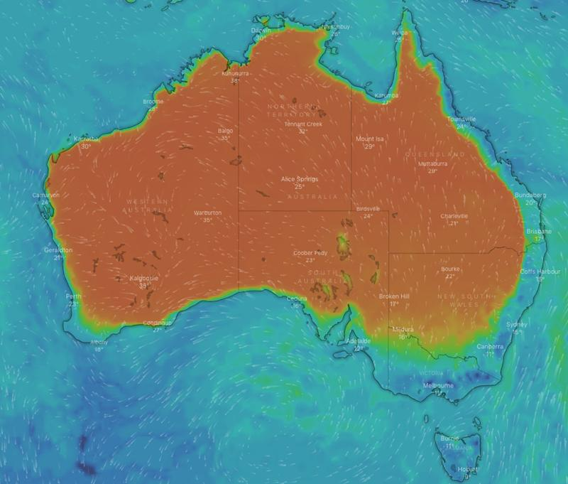 A weather map of Australia showing temperatures cooling across the southeast.