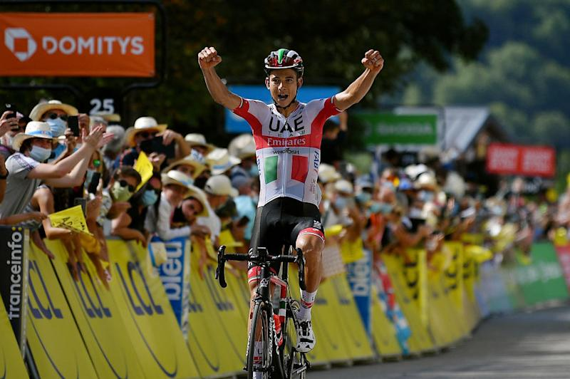 SAINT MARTIN DE BELLEVILLE FRANCE AUGUST 14 Arrival Davide Formolo of Italy and Team UAE Team Emirates Celebration during the 72nd Criterium du Dauphine 2020 Stage 3 a 157km stage from Corenc to Saint Martin de Belleville 1419m dauphine Dauphin on August 14 2020 in Saint Martin de Belleville France Photo by Justin SetterfieldGetty Images