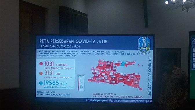Peta persebaran Corona COVID-19 di Jawa Timur pada Jumat, 1 Mei 2020. (Foto: Liputan6.com/Dian Kurniawan)