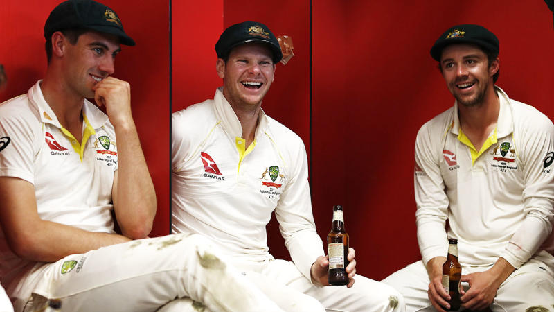 Travis Head, pictured here after Australia's win in the fourth Test.