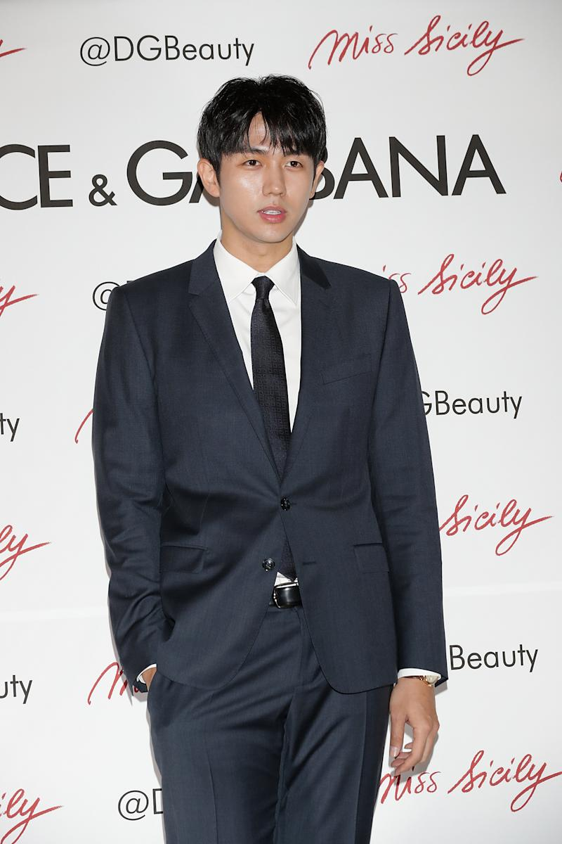 """SEOUL, SOUTH KOREA - OCTOBER 27: Seulong of South Korean boy band 2AM attends the """"Dolce & Gabbana"""" Pop Up Store Opening at Lotte Department Store on October 27, 2017 in Seoul, South Korea. (Photo by Han Myung-Gu/WireImage)"""
