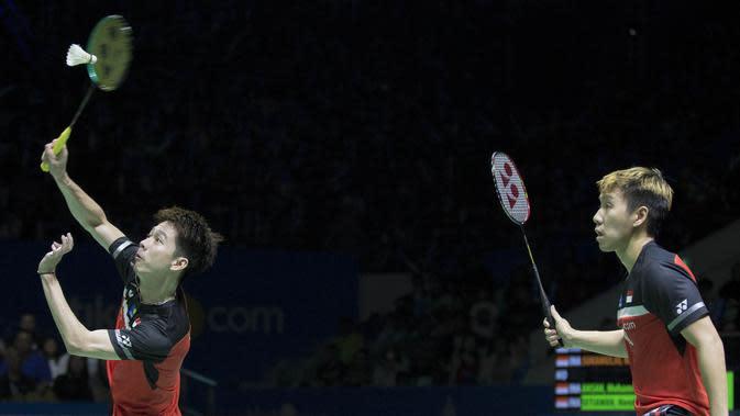 Kevin Sanjaya / Marcus Fernaldi Gideon, unggulan pertama di Indonesia Masters 2020. (Bola.com/Peksi Cahyo)