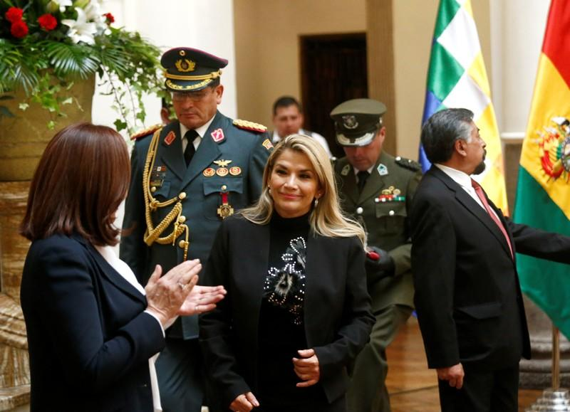 Bolivia's interim President Jeanine Anez attends a ceremony at the presidential palace in La Paz