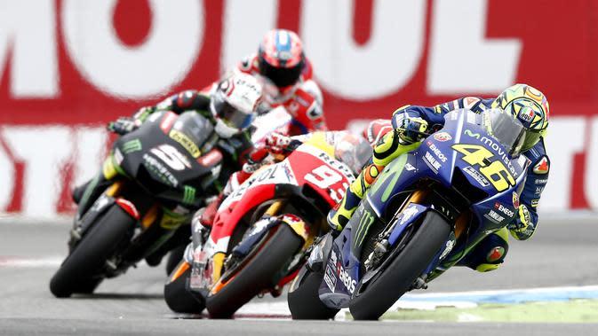 Ilustrasi persaingan sengit di MotoGP 2017. (Vincent Jannink / ANP / AFP)