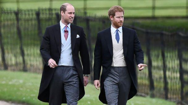 PHOTO: Prince Harry and Prince William, Duke of Cambridge walk to the church for the wedding of Pippa Middleton and James Matthews at St Mark's Church in Englefield, west of London, on May 20, 2017. (Justin Tallis/AFP/Getty Images)
