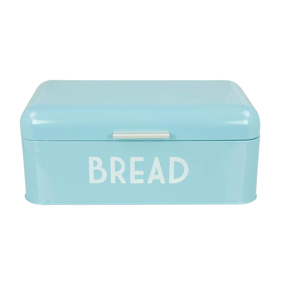 """<p>This colorful retro bread box will help keep loaves fresh and will look pretty while doing—choose from five different colors to find the perfect one for your kitchen's aesthetic.</p> <p><strong>To buy</strong>: $30; <a href=""""https://www.amazon.com/Home-Basics-Stainless-Container-Turquoise/dp/B017RMOAKE/ref=as_li_ss_tl?ie=UTF8&linkCode=ll1&tag=rshomevintagekitchenappliancesmalcedo-20&linkId=86a822ffca2fe6db975174b47085e3fc&language=en_US"""" target=""""_blank"""">amazon.com</a>.</p>"""