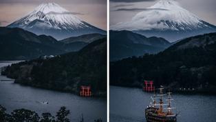 攝影師神角度捕捉富士山 網友分不清:是水墨畫?
