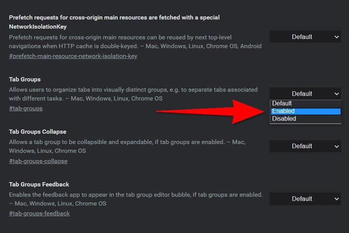 Google Chrome Tab Groups Flag