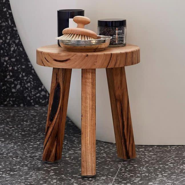 The block shop wooden circle top stool